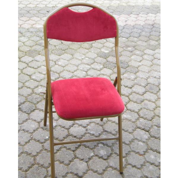 Chaise velours rouge pliante
